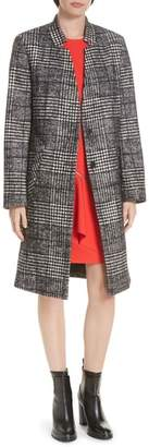 HUGO Magrete Bold Check Stretch Cotton Wool Coat
