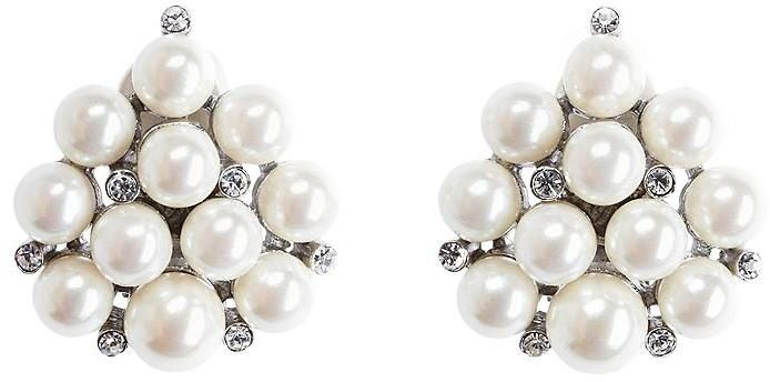 Sterling Silver and Glass Pearl Cluster Earrings
