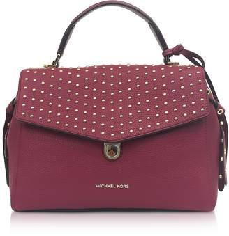 Michael Kors Bristol Mulberry Studded Leather Top Handle Satchel Bag