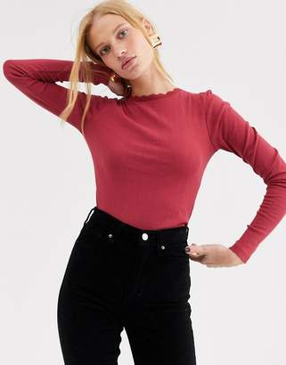 Topshop ribbed long sleeved top in raspberry