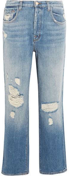 J Brand - Ivy Cropped Distressed High-rise Straight-leg Jeans - Mid denim