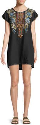 Johnny Was Hira Linen Peasant Tunic Dress, Plus Size