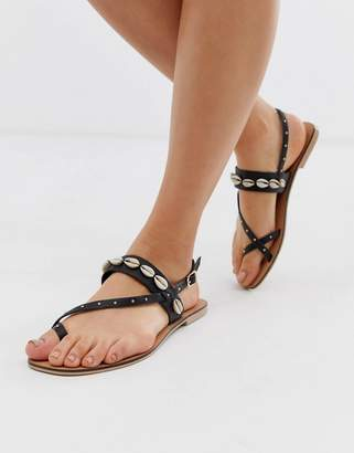 Office shell studded toe loop sandals