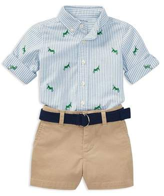Ralph Lauren Boys' Grasshopper Oxford Shirt, Chino Shorts & Belt Set - Baby