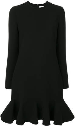 Victoria Beckham Victoria ruffled hem longsleeved dress