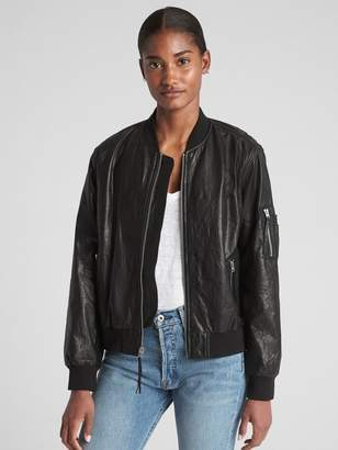 Gap Paper Leather Bomber Jacket