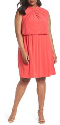 Adrianna Papell Twist Neck Jersey Blouson Dress