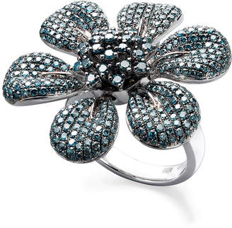 Effy Blue Diamond Pave Flower Ring in Sterling Silver (2-5/8 ct. t.w.)