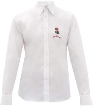 Alexander McQueen Floral Applique Cotton Poplin Shirt - Mens - White