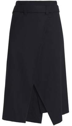 Cédric Charlier Belted Cotton-Blend Twill Wrap Skirt