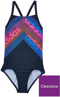 adidas Girls Legend Swimsuit - Pink/Blue/Black