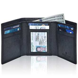 RFID Leather Trifold Wallets for Men- Slim Front Pocket Mens Wallet 6 Credit Card Holder with ID Window ()