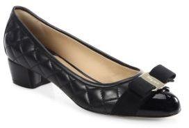 Salvatore Ferragamo Vara Quilted Leather Block Heel Pumps