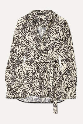 Proenza Schouler Printed Crepe Wrap Top - Off-white
