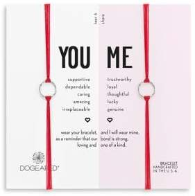 Dogeared Two-Piece You and Me Sparkle Sterling Silver Ring Cord Bracelets