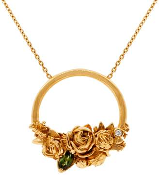 "Lee Renee Rose Halo Diamond & Tourmaline Necklace "" Rose Gold"