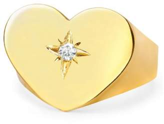 Johnny Was 14K Gold Custom Large Golden Heart With Star Set Diamond