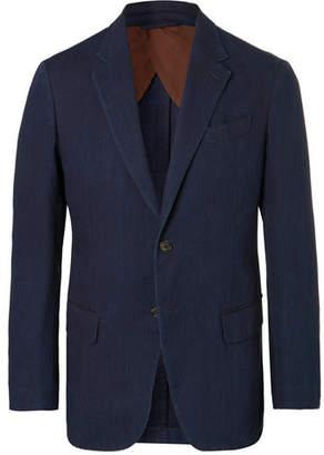 Ermenegildo Zegna Indigo Slim-Fit Unstructured Garment-Dyed Cotton Suit Jacket