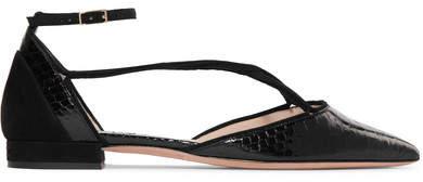 Giorgio Armani - Suede-trimmed Python Point-toe Flats - Black