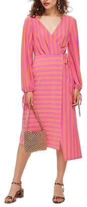 Topshop Stripe Wrap Midi Dress (Regular & Petite)