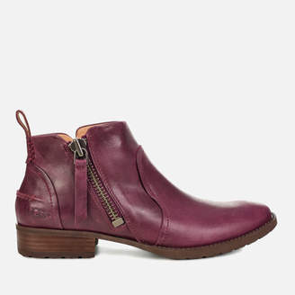 UGG Women's Aureo Full Grain Leather Flat Ankle Boots - Oxblood
