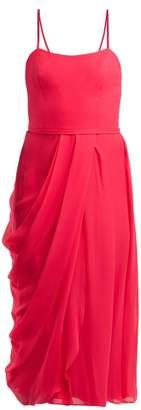 Carolina Herrera Draped Silk Chiffon Midi Dress - Womens - Pink