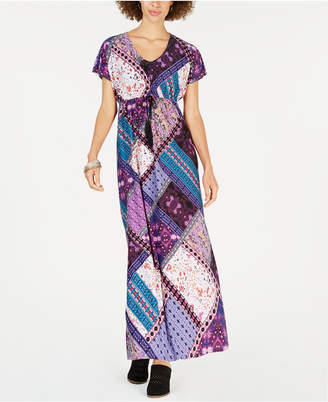 Style&Co. Style & Co Printed Tie-Waist Maxi Dress