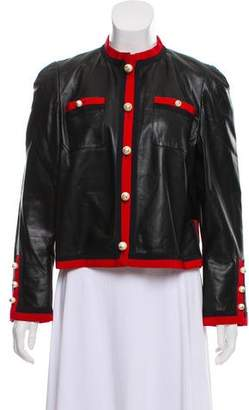 Gucci 2017 Web-Trimmed Leather Jacket