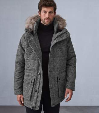 Reiss SHAW FAUX FUR HOODED DOWN PARKA Grey