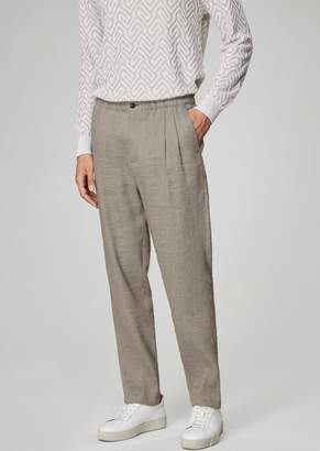 Giorgio Armani Pleated Pants In Washed, Striped Basket Weave Linen Blend