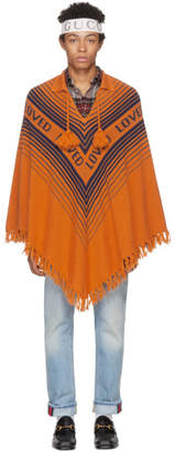 Gucci Orange and Blue Loved Poncho