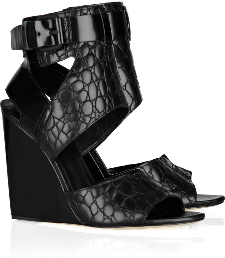 Alexander Wang Natalia embossed-leather wedge sandals