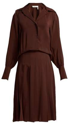 Chloé Pleated Silk Crepe De Chine Shirtdress - Womens - Dark Brown