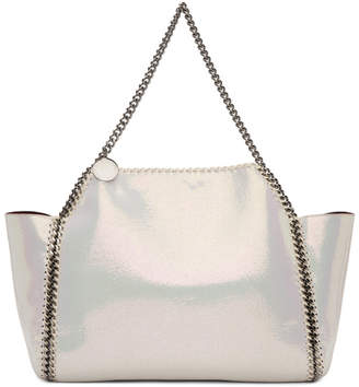 Stella McCartney Reversible White and Burgundy Shaggy Deer Falabella Tote