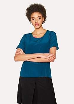 Paul Smith Women's Petrol Blue Silk Top With Multi-Coloured Trim