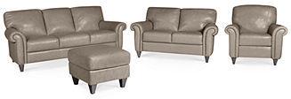 Arianna Leather Sofa, 4-Piece Set (Sofa, Loveseat, Recliner, and Ottoman)