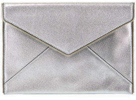Rebecca Minkoff Leo Zip-Trim Metallic Leather Clutch Bag