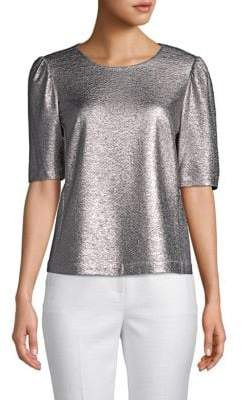 Rebecca Taylor Metallic Short-Sleeve Top