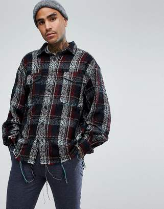 Mennace Oversized Shirt In Check With Raw Hem