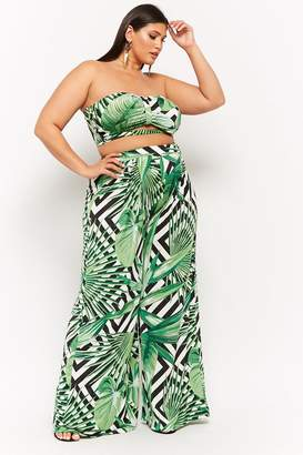Forever 21 Plus Size Palm Leaf Cropped Tube Top & Pants Set