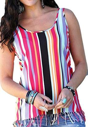 LG Electronics Cruel Women's Striped Rayon Tank Top Knotted