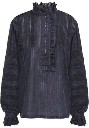 Antik Batik Gelly Lace-trimmed Cotton-blend Blouse