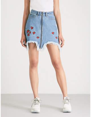 The Kooples Rose-embroidered distressed denim mini skirt