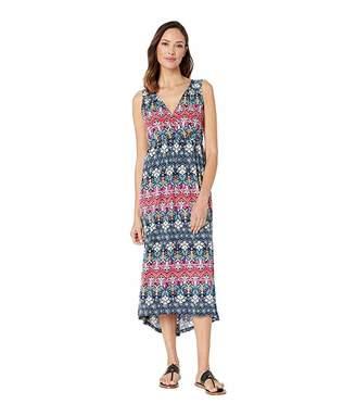 Tribal Printed Sleeveless High-Low Maxi Dress