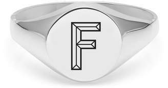 Myia Bonner Silver F Facett Initial Signet Ring