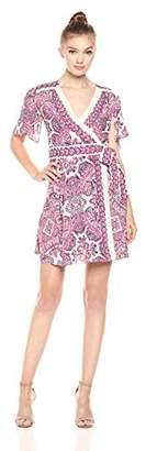 BCBGMAXAZRIA Azria Women's Kylie Short Flutter Sleeve Woven Wrap Dress