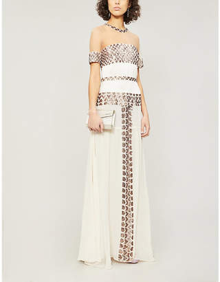 Temperley London Sequin-embellished mesh-panel silk-woven dress