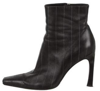 Versace Leather Stripe Ankle Boots