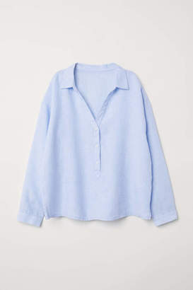 H&M Linen Pajama Shirt - Light blue/white striped - Women