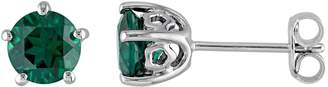 Laura Ashley Sterling Silver Lab Created Emerald Stud Earrings $550 thestylecure.com